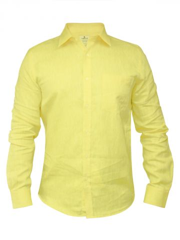 Turtle Yellow Formal Cotton Linen Slim Fit Shirt at cilory