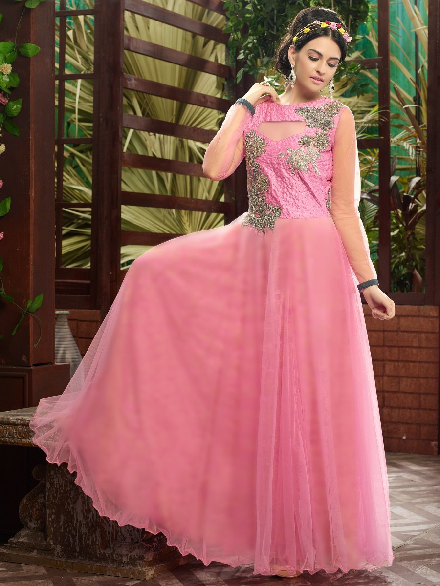 ee015d1354d Sayna Pink Semi-stitched Party Wear Suit