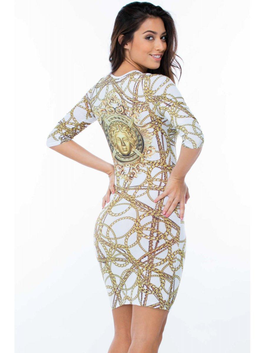 Trendiest Dresses Styles For Summer 2019: Trendy Gold Chain Print Dress