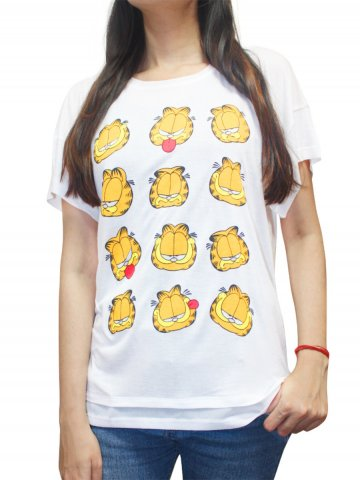 Garfield White Short Sleeves Tee at cilory