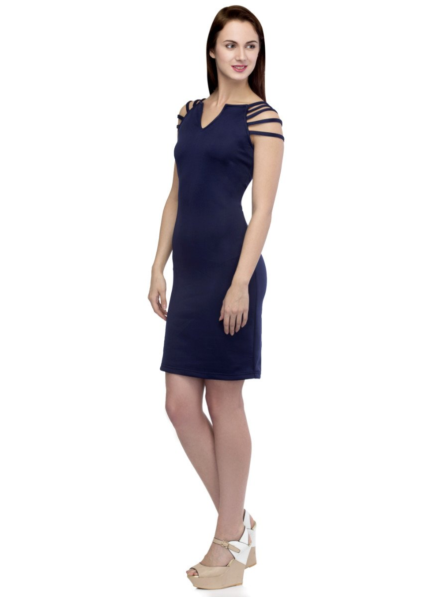 go bold wearing this navy bandage dress - featuring a choker neck, cut out details and a mini length. Regular fit - concealed back zip 90% Polyester, 10% Elastane Approx length: 85cm/