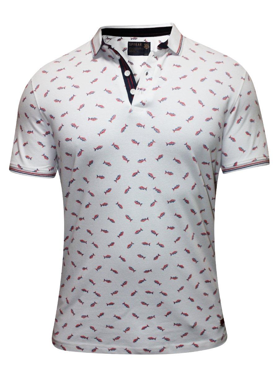 Spykar white printed polo t shirt rts s16 99 white for Polo t shirt printing