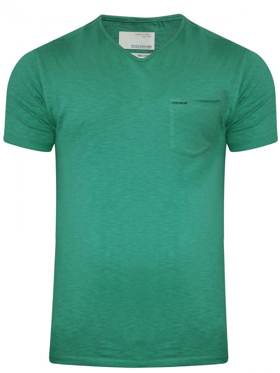 Peter England Light Green V Neck T Shirt Ekc31700120 Hs
