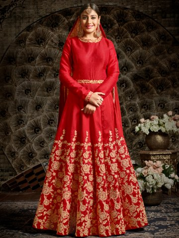 Mahnoor Red Semi Stitched Embroidered Suit at cilory