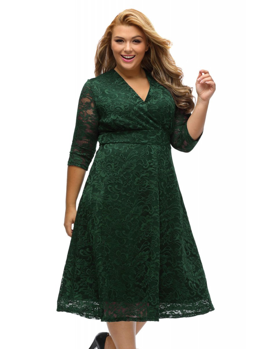 Bottle Green Plus Size Surplice Lace Formal Skater Dress E61442 9