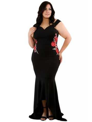 Black Plus Size Embroidery Floral Mermaid Maxi Dress | E61606-2 ...