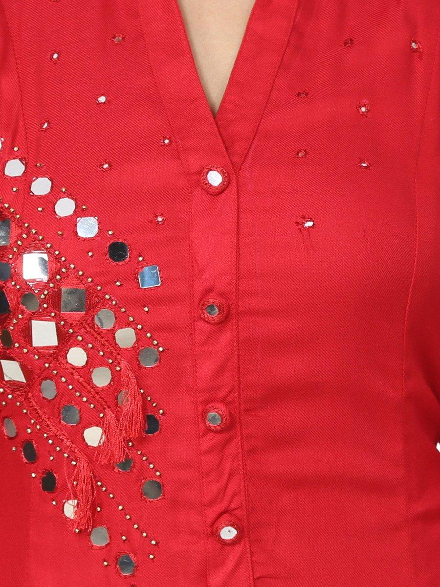Dharini Red Rayon Cotton Kurti with Hand Work