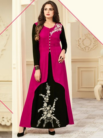 https://static1.cilory.com/318431-thickbox_default/floral-black-embroidered-kurti-with-dark-pink-long-jacket.jpg