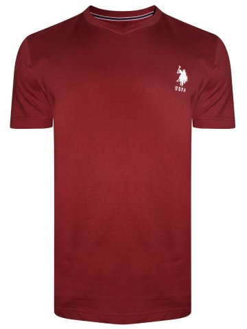 U.S. Polo Maroon V-Neck T-Shirt at cilory