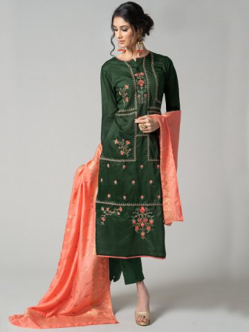 26254892ae Straight Suits. >Dark Green semi stitched embroidered suit with jacquard  dupatta. https://static1.cilory.com/374072-thickbox_default/dark-