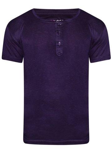 c7147a54866 Nologo Purple Slub Cotton Henley | Nologo-ht-003 | Cilory.com