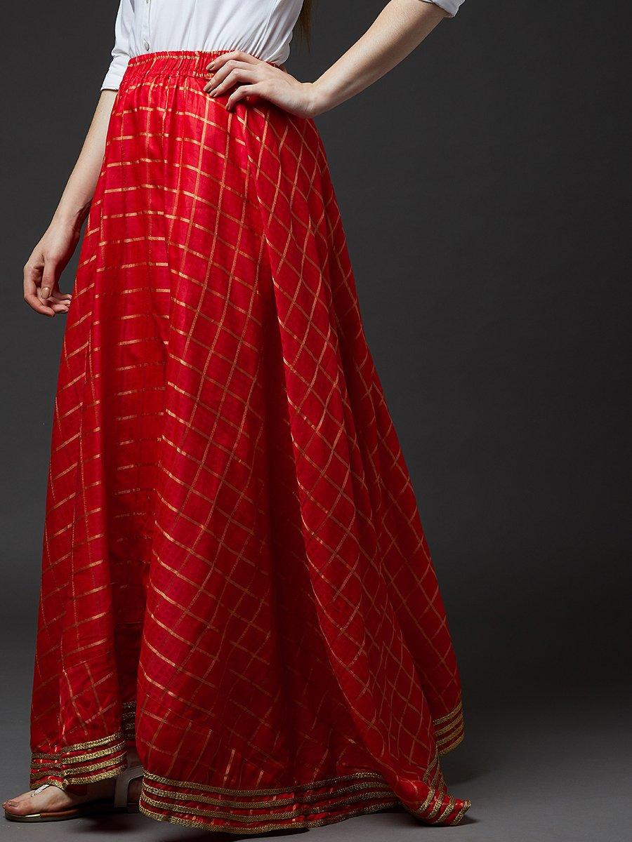 f4efc5331 Estonished Red Zari Checks Long Skirt